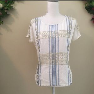 J.Crew White Blue and Gold Printed Blouse Size S